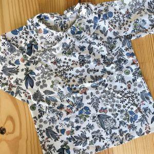 Camisa Cuello Flores Azul